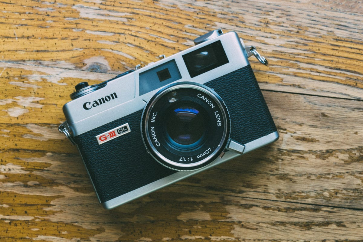 Front view of a Canon Canonet film camera