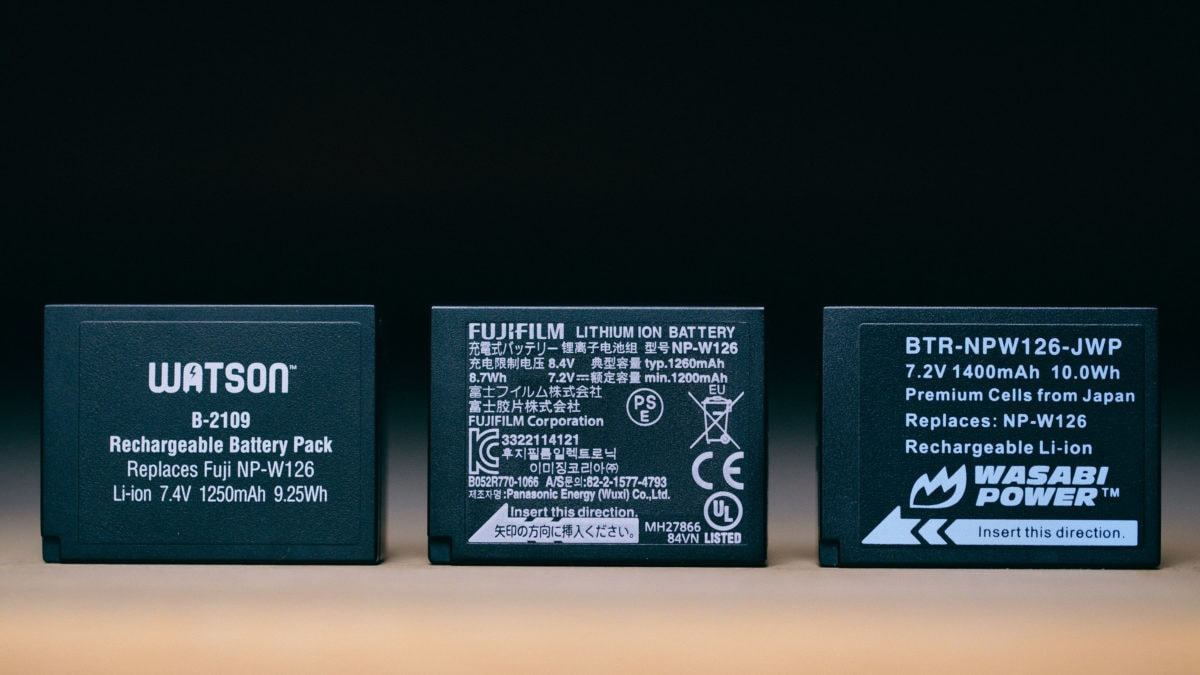 three batteries for a fujifilm camera