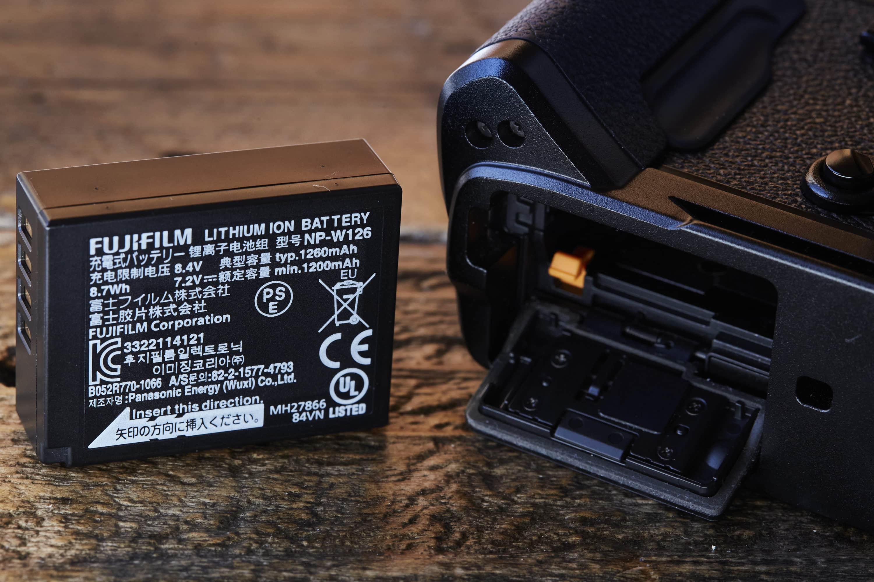 Fuji X-Pro2 camera and battery outside of body